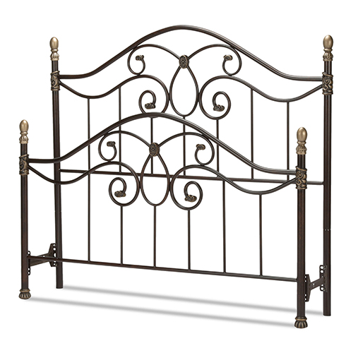 Fashion Bed Group Dynasty Autumn Brown King Bed with Arched Metal Duo Panels and Scalloped Finial Posts