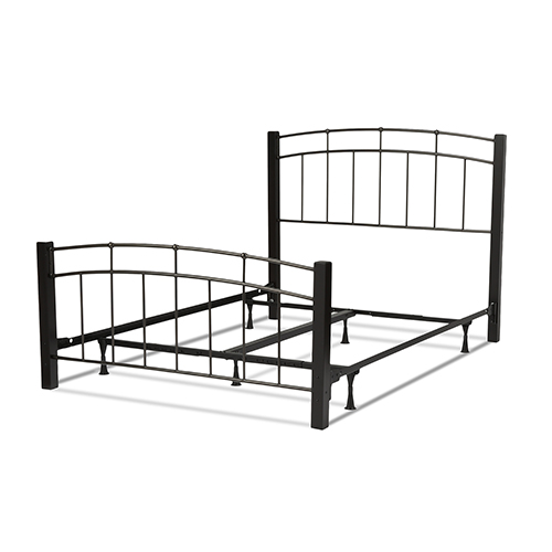 Fashion Bed Group Scottsdale Black Speckle Complete Twin Bed with Metal Panels and Dark Espresso Wooden Posts