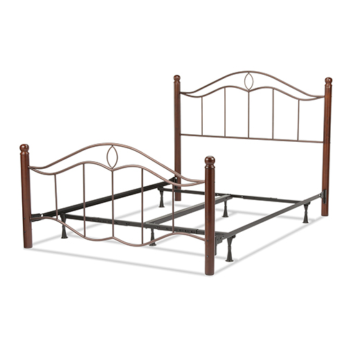 Fashion Bed Group Cassidy Mink Complete King Bed with Metal Panels and Dark Walnut Wood Posts
