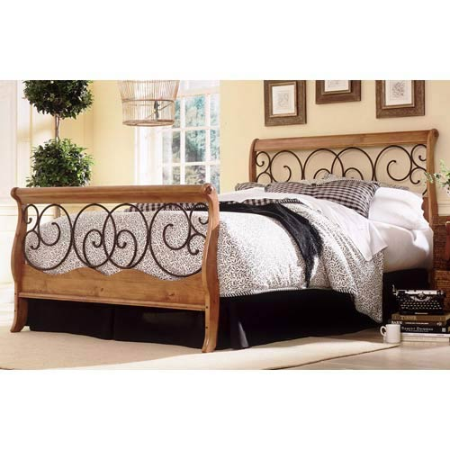 Dunhill I Autumn Brown and Honey Oak Queen Bed Frame