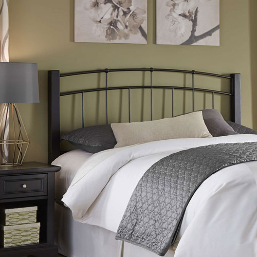 Fashion Bed Group Scottsdale Black Speckle Metal Queen Headboard with Sloping Top Rails and Dark Espresso Wooden Posts