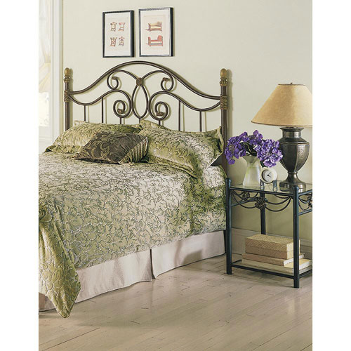 Fashion Bed Group Dynasty Autumn Brown California King Headboard with Arched Metal Grill and Scalloped Finial Posts