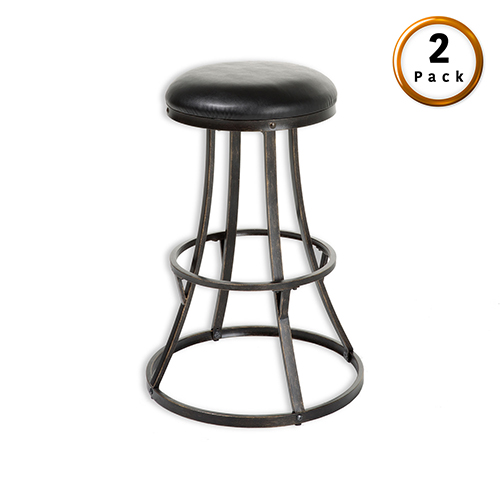 Dover Metal 30 In. Barstool with Black Upholstered Swivel-Seat and Blackened Bronze Frame Finish, Set of Two