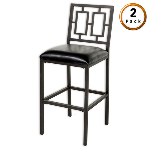 Lansing 26 In. Metal Barstool with Black Upholstered Seat and Coffee Frame Finish, Set of Two