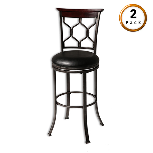 Tallahassee 30 In. Metal Barstool with Black Upholstered Swivel-Seat and Heritage Silver Frame Finish, Set of Two
