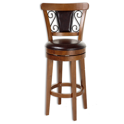Trenton 26 In. Wood Counter Stool with Brown Upholstered Swivel-Seat and Nutmeg Frame Finish