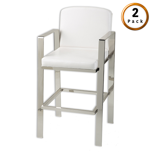 Juneau 30 In. Metal Barstool with White Upholstered Seat and Nickel Frame Finish, Set of Two