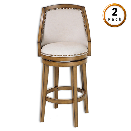 Charleston Wood 30 In. Barstool with Putty Upholstered Nail head Trim Swivel-Seat and Acorn Frame Finish, Set of Two