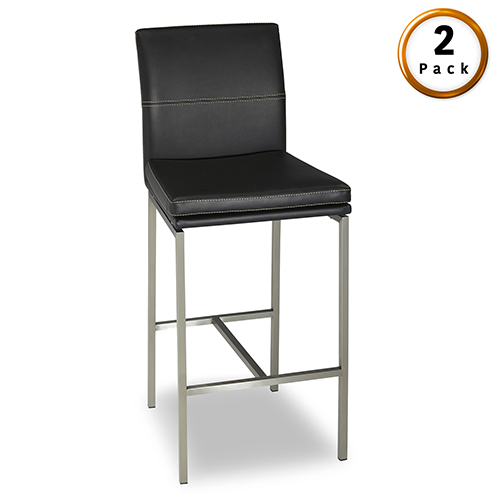 Phoenix 26 In. Metal Counter Stool with Black Upholstered Seat and Stainless Steel Frame, Set of Two