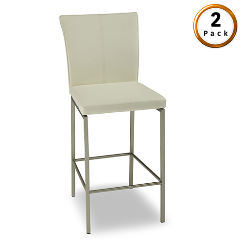 Fashion Bed Group Cheyenne Metal 30 In. Barstool with Glacier Finished Upholstered Seat and Stainless Steel Frame