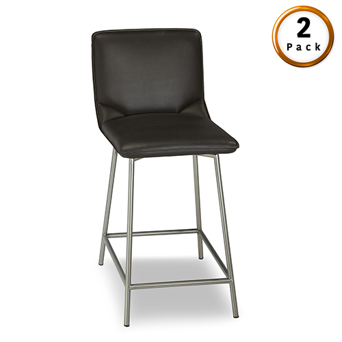 Pierre 26 In. Metal Counter Stool with Cappuccino Upholstered Seat and Stainless Steel Frame, Set of Two