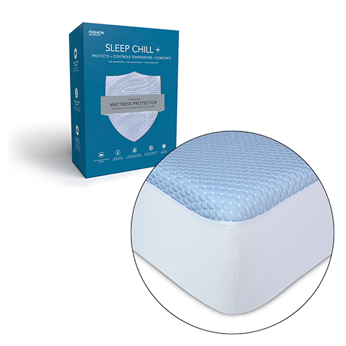 Sleep Chill Plus Queen Crystal Gel Mattress Protector with Cooling Fibers and Blue 3-D Fabric