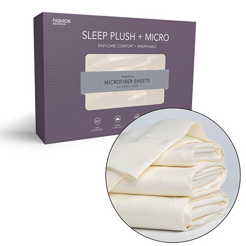 Fashion Bed Group Sleep Plush Plus California King Beige Four-Piece Microfiber 500g Bed Sheet Set with Wrinkle Free