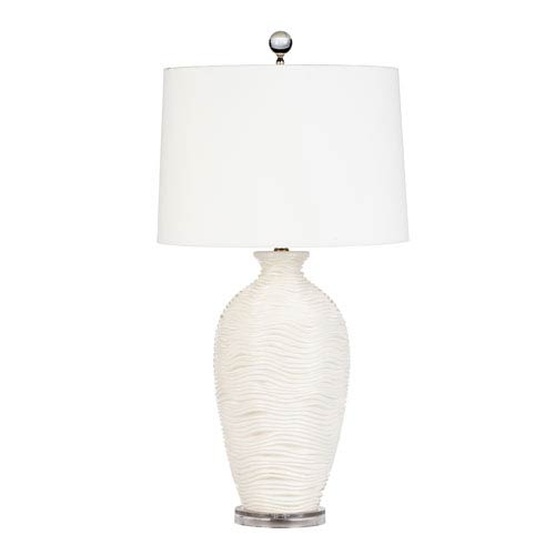 Alabaster Cream Glaze One Light Deco Wave Lamp