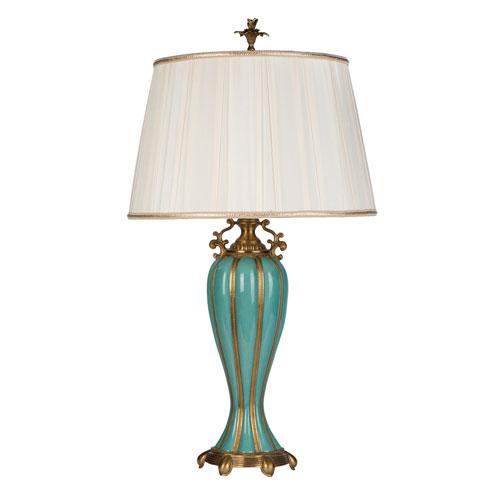 Aqua Glaze and Brass One Light Aquataine Lamp