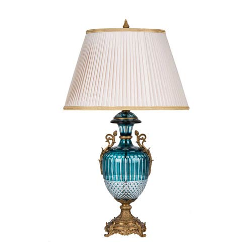 Teal and Brass One Light Rothschild Lamp