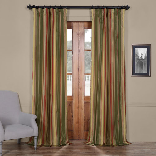 Half Price Drapes Mirage Multi 50 x 120-Inch Taffeta Stripe Curtain