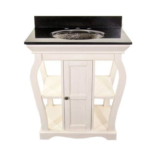 White Vineta Vanity with Black Granite Top & Black Nickel Oceana Undermount