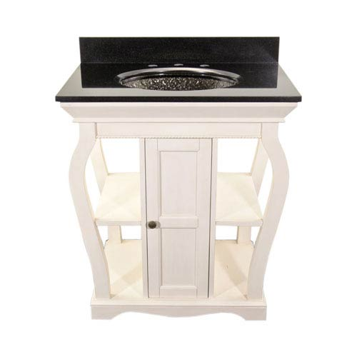 White Vineta Vanity with Black Granite Top & Black Nickel Pebble Undermount/Drop-In