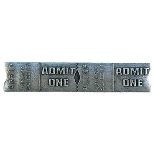 Silver Screen Admit One Drawer Pull - Warm Pewter