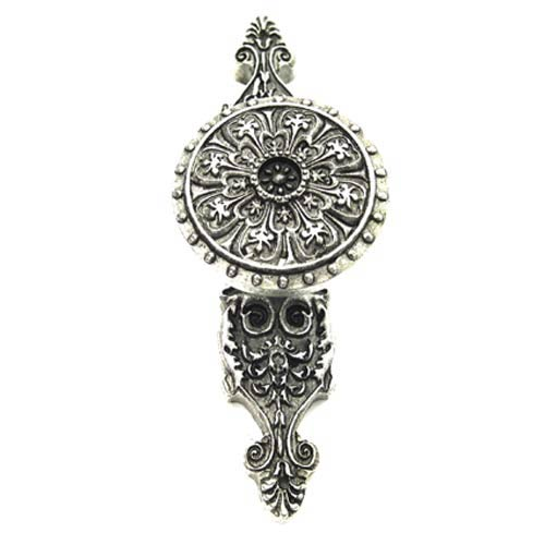 Medici Florentine Ornate Drawer Pull with Backplate - Warm Pewter