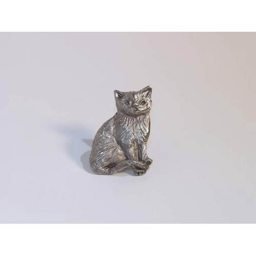 Cat Knob - Antique Matte Silver