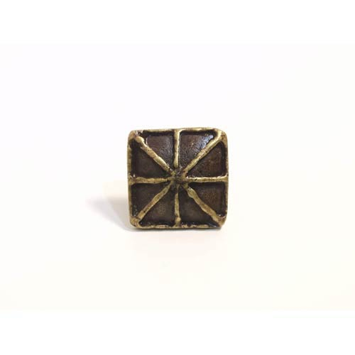 Square with Lines Knob - Antique Matte Brass