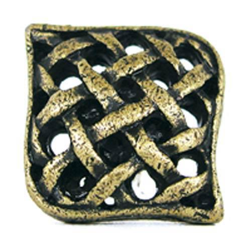 Small Crosshatch Knob - Antique Matte Brass