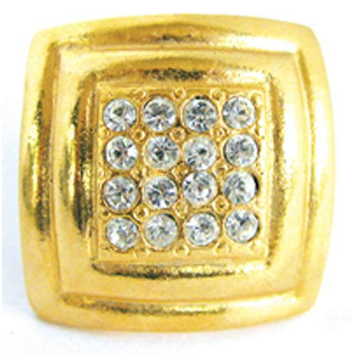 Large Rhinestone Square Rim Knob - Bright Gold