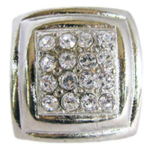 Small Rhinestone Square Rim Knob - Bright Silver