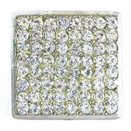 Large Square Rhinestone Knob - Bright Silver