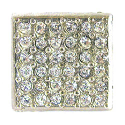 Small Square Rhinestone Knob - Bright Silver