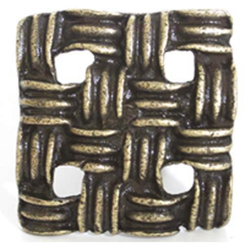Basket Weave Knob - Antique Matte Brass