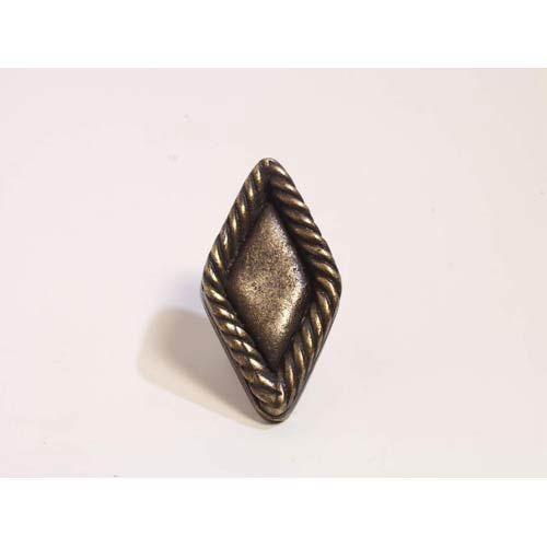 Rope Edge Diamond Plain Knob - Antique Matte Brass