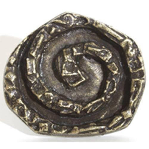 Swirly Round Knob - Antique Matte Silver