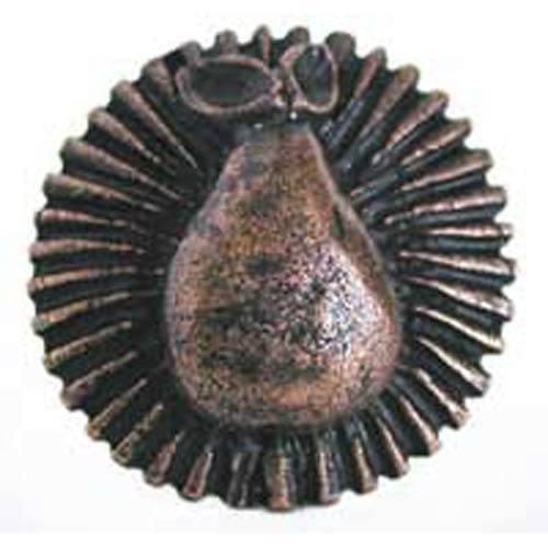 Pear on Stripes Knob - Antique Matte Copper