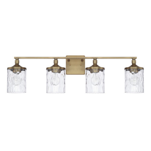 HomePlace Colton Aged Brass 34-Inch Four-Light Bath Vanity