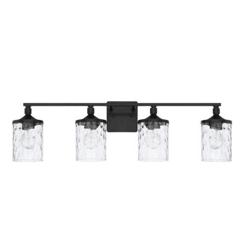 HomePlace Colton Matte Black 34-Inch Four-Light Bath Vanity