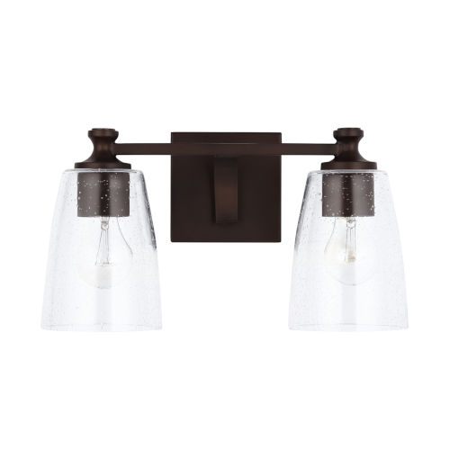 HomePlace Myles Bronze Two-Light Bath Vanity with Clear Seeded Glass