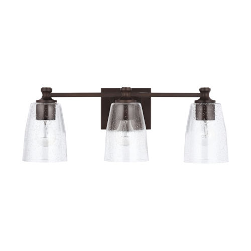 HomePlace Myles Bronze Three-Light Bath Vanity with Clear Seeded Glass