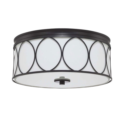 Rylann Matte Black Three-Light Flush Mount
