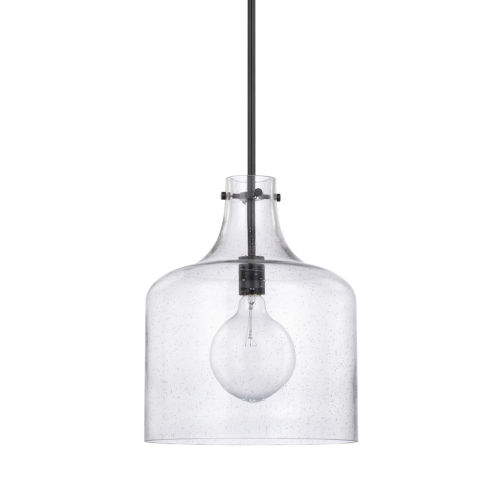 HomePlace Matte Black Seeded Glass 12-Inch One-Light Pendant
