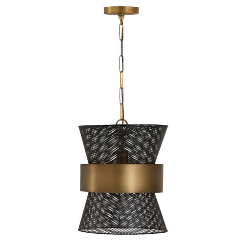 Patinaed Brass and Black 13-Inch One-Light Pendant