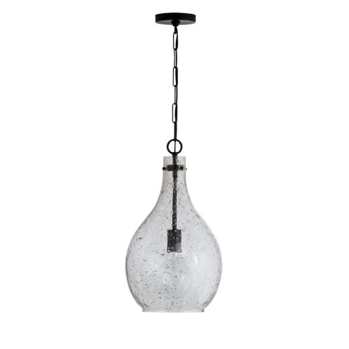 Matte Black 12-Inch One-Light Pendant with Stone Seeded Glass