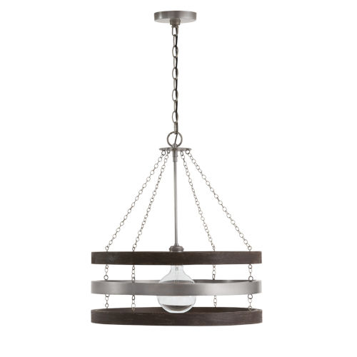 Ashton Carbon 20-Inch Grey and Matte Nickel One-Light Pendant