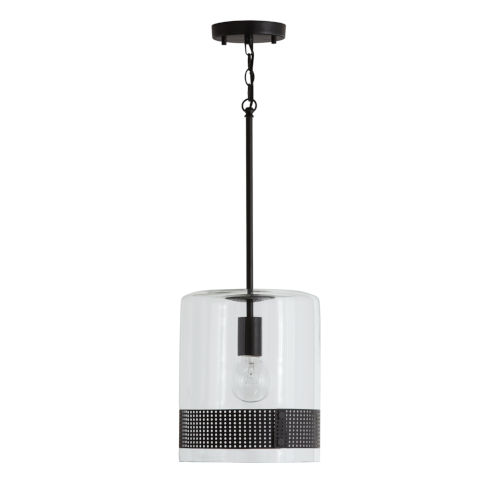 Matte Black One-Light 10-Inch Mini Pendant with Clear Glass