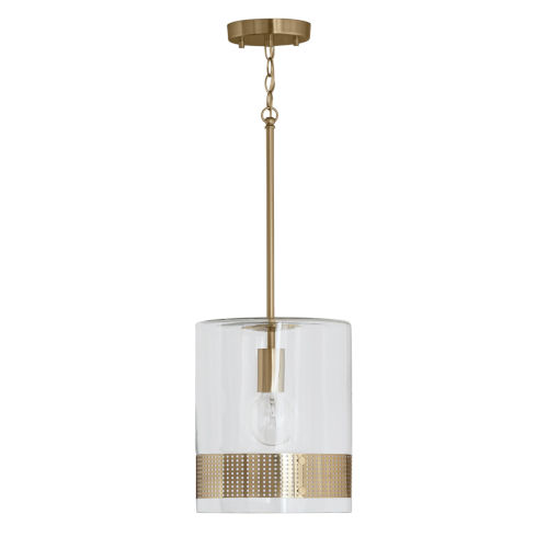 Polished Brass 10-Inch One-Light Mini Pendant with Clear Glass