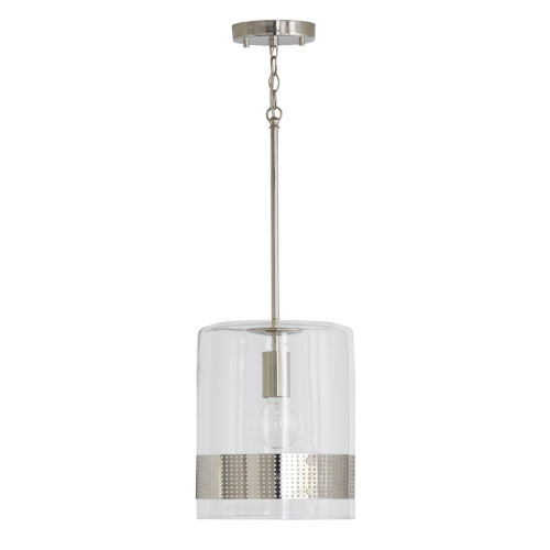 Polished Nickel 10-Inch One-Light Mini Pendant with Clear Glass