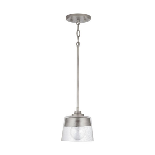 Decker One-Light Mini Pendant with Clear Seeded Glass