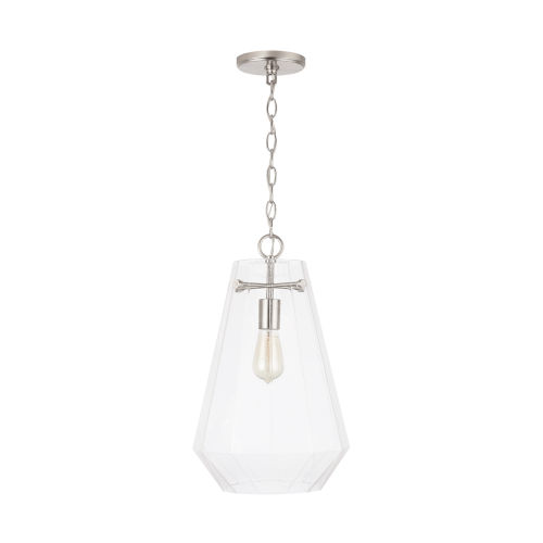 One-Light Pendant with Clear Prismatic Glass